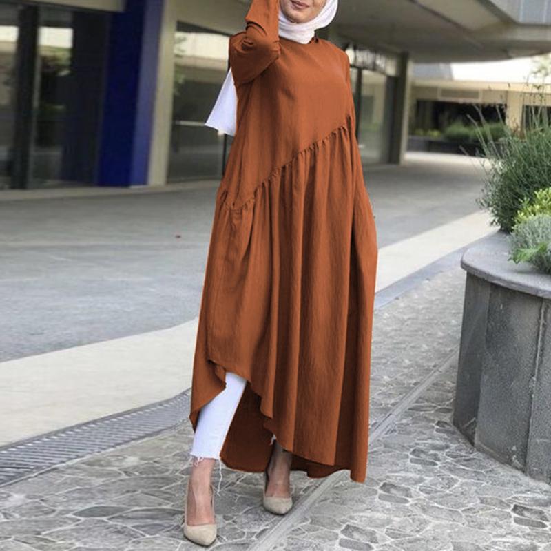 Fashion Asymmetrical Dress Women's Autumn Sundress ZANZEA 2020 Casual Muslim Abaya Robe Dress Female Long Sleeve Maxi Vestidos