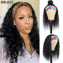 Wig Human-Hair-Wig Beyo Brazilian Water-Wave Curly Black-Women with Headband 10--26-remy-Hair