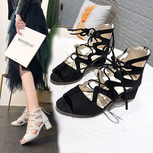 Bandage Women Lady Heeled Sandals Boots Flat Summer Shoes Woman Large Size Knee High Gladiator Sandals 2018 New Plus Size US-20 plus size ethnic bohemian summer woman pompon sandals gladiator roman strappy knee high boots embroidered tassel shoes d35ma20