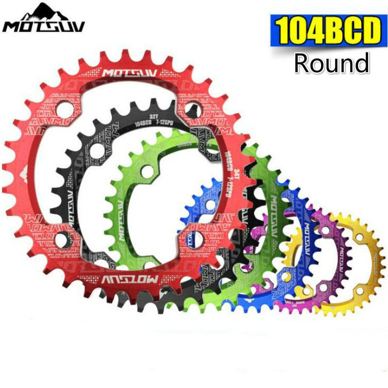 MOTSUV 104BCD Round <font><b>Narrow</b></font> <font><b>Wide</b></font> Chainring MTB Mountain Bike Bicycle <font><b>32T</b></font> 34T 36T 38T Crankset Tooth Plate 104 BCD Chainwheel image