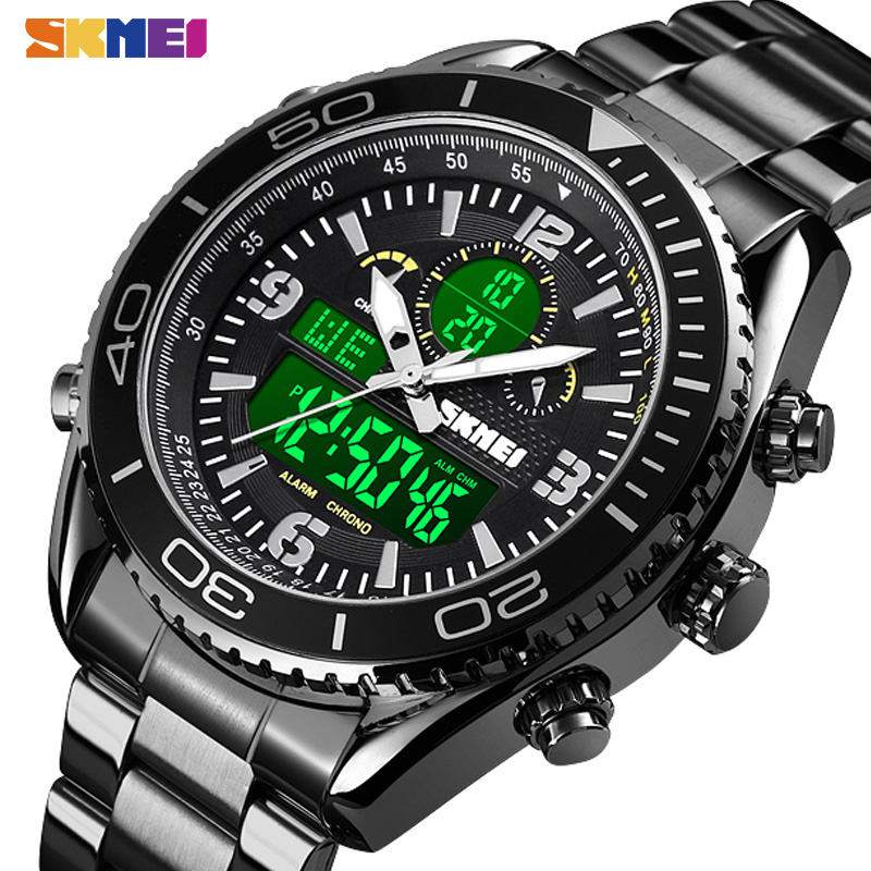 SKMEI Dual Display Watches Mens Fashion Digital Wristwatches Chrono Alarm Men Clock Waterproof Stainless Steel Reloj Hombre 1600