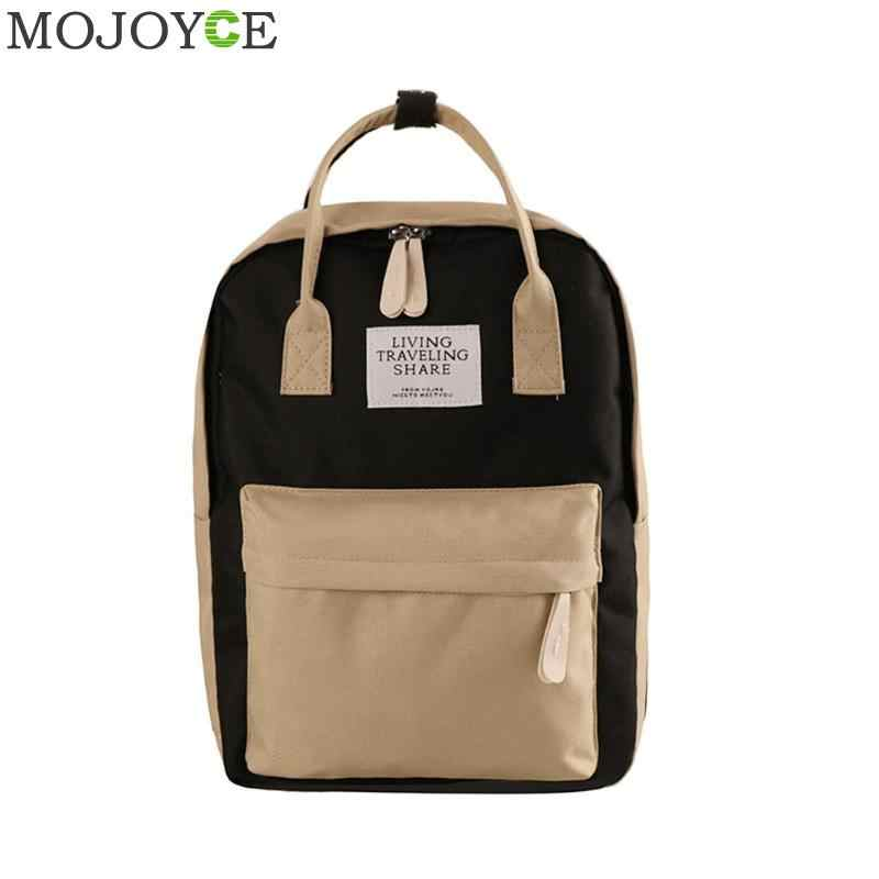 Cute Canvas fashion Backpack female Hit Color Nylon backpack design for girls leisure travel school simple personality luggage