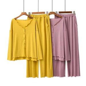 Image 2 - 2020 jesień nowe panie piżamy zestaw komfort jednolity kolor kobiety Sexy dekolt w serek z Homewear 2 sztuk z długim rękawem + spodnie odzież na co dzień