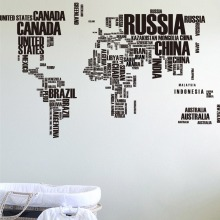 60*90*2 large world map wall stickers original creative letters art bedroom home decorations decals