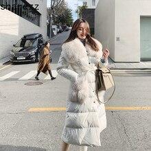 Яркая Цветная зимняя куртка для женщин с поясом, утепленные парки с меховым воротником, теплое пуховое хлопковое пальто, дизайнерская пуховая куртка с хлопковой подкладкой для женщин