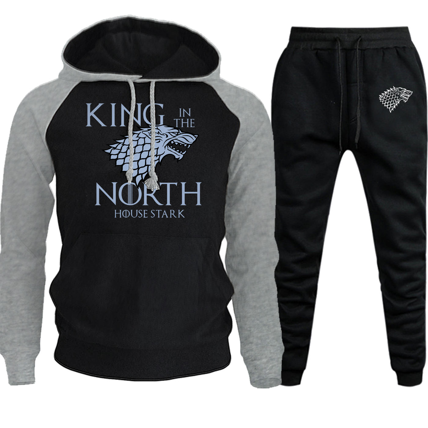 Autumn Winter 2019 New Game Of Thrones Hip Hop Hooded Mens Streetwear House Of Stark Suit Fleece Funny Hoodie+Pants 2 Piece Set