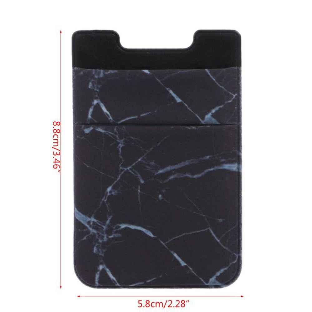 Cartera elástica para teléfono móvil soporte de tarjeta de identificación de crédito adhesivo bolsillo pegatinas organizador bolsa