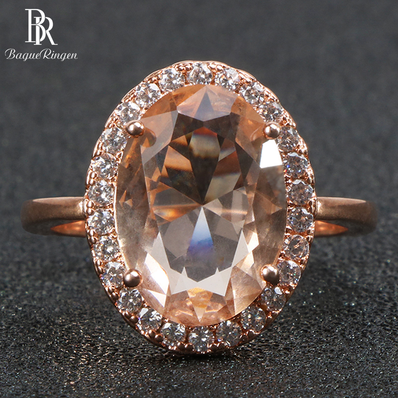 Bague Ringen classic 925 sterling silver rings for women with round shape topaz gemstones rose gold color women jewelry gift