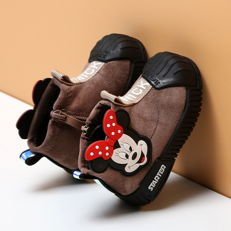 Cartoon Children's Shoes Winter Plush Thick Cotton Shoes 1-3-year-old Baby Toddler Girls Boots First Walkers