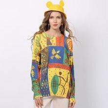 Женский вязаный пуловер с круглым вырезом принтом