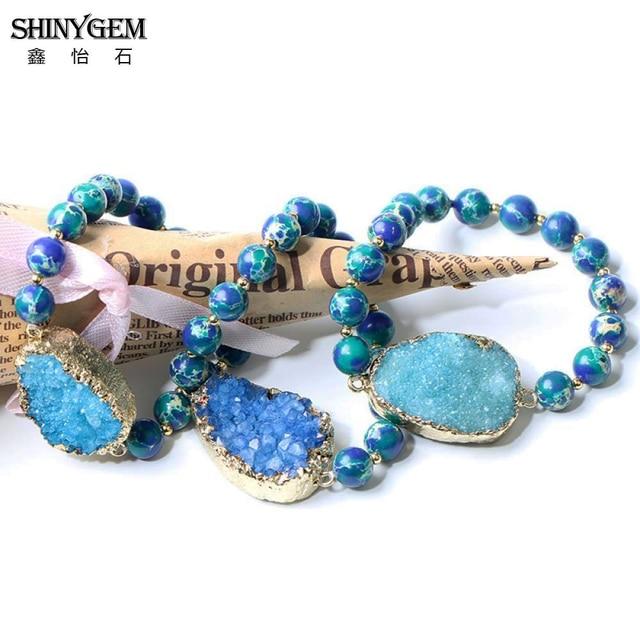 Shinygem браслеты из натурального камня для йоги 8 мм синие