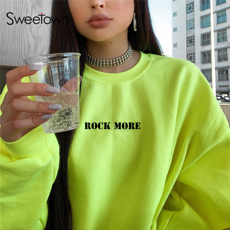 Sweetown 2019 Autumn Plus Size Women Sweatshirt Neon Color Korean Fashion Pullover Letter Print Puff Long Sleeve Sweatshirts