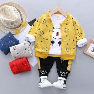 Image 2 - Kid Baby Boy Casual Clothing Set Cartoon Bear Zipper Coat Clothes Shirt Clothing Sets 3PCS Toddler Baby Set Boys  1 2 3 4 Years