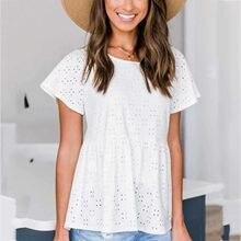 Blusa de empalme de encaje para Mujer, blusa informal de manga corta con cuello redondo, blusa Blanca para Mujer