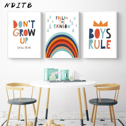 Boys Rule Rainbow Nursery Quotes Child Poster and Print Canvas Wall Art Picture Minimalist Painting Nordic Kids Room Decoration