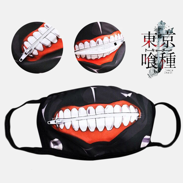 1PC Cotton Dustproof Mouth Face Mask Anime Zipper Cartoon Kpop Fashion Tokyo Ghoul Women Men Muffle Face Mouth Masks Cover 2
