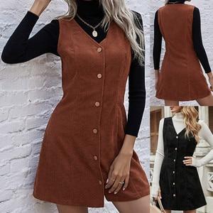 Женское вельветовое платье без рукавов, с V-образным вырезом, Осень-зима 2021