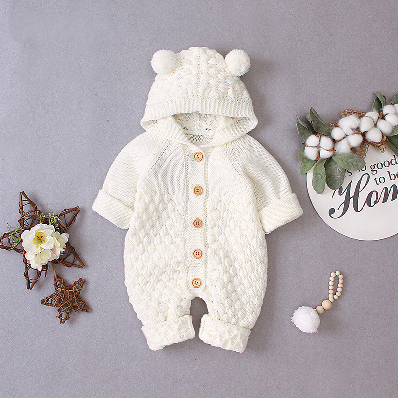 2019 Newborn Autumn Winter Long Sleeve Hooded Knitting Romper Jumpsuit Playsuit Outfits Warm Clothes