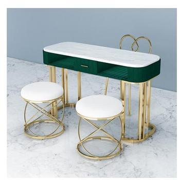 Netto czerwony marmurowy stół do manicure i zestaw krzeseł pojedynczy podwójny złoty żelazny dwupokładowa stół do manicure prosty i lekki luksus tanie i dobre opinie Metal iron Salon mebli Stół paznokci Meble sklepowe