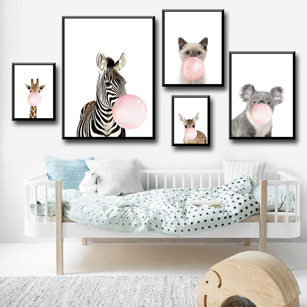 Cartoon Bubble-blowing Animals Zebra Giraffe Wall  Canvas Painting Nordic Posters And Prints Wall Pictures For Living Room Decor