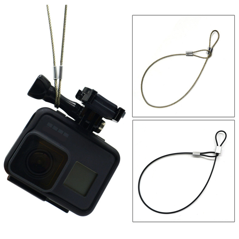 Safety Strap Stainless Steel Tether Lanyard Wrist Hand 30cm For GoPro Sports Action Video