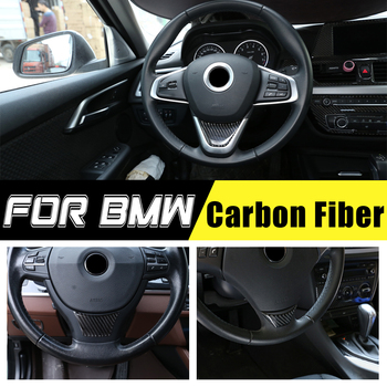 Car Styling For BMW 1/3/5 Series GT X1 E90 E92 F10 F07 E84 Carbon Fiber Steering Wheel Sticker Cover Sticker Interior Trim Decal image