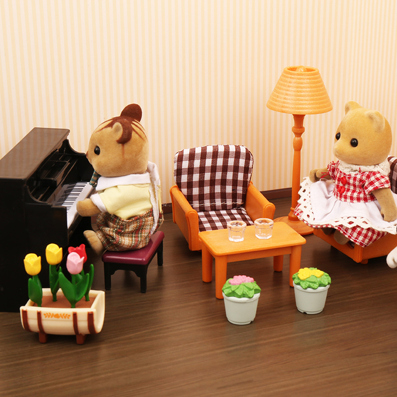 Forest Family Villa 1:12 Furniture Set Toy Forest Animal Family Mini Bedroom Set Mini Living Room Furniture Toy Gift