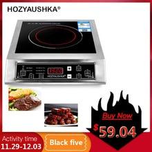 3500 Вт домашняя высокомощная индукционная плита Коммерческая плоская настольная кнопка из нержавеющей стали для жарки супа