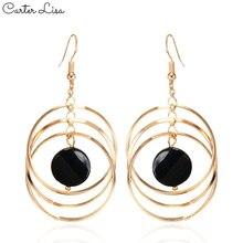 CARTER LISA Rock Punk Big Round Geometric Drop Metal Long Dangle Earrings For Women Bohemian Party Exaggerated Charm Ear Jewelry