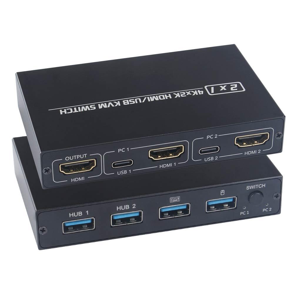 Для 2 ПК обмен клавиатура Мышь разъем принтера и бледный 2020 или наружу 4K USB HDMI KVM переключатель коробки видео Дисплей переключатель USB разветв...