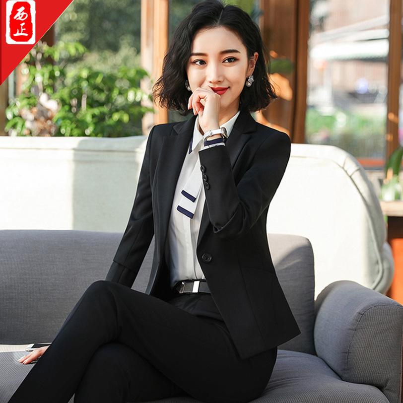 2019 Autumn And Winter Ji Xin-Women's One-Button Black And White With Pattern Diagonal Pocket Business Long Sleeve Button Busine