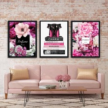 Fashion Paris Perfume Flower Book Handbag Nordic Posters and Prints Wall Art Canvas Painting Wall Pictures For Living Room Decor