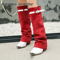 Original Scrub Full Leather High Socks Boots with Pointy Handsome Knight Boots