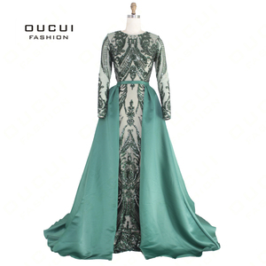 Image 5 - Green 2019 Muslim Long Sleeves Mermaid Evening Dress Appliques Sequined Train Arabic Kaftan Prom Dresses Party Gowns OL103347