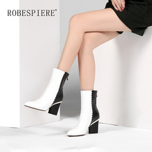 ROBESPIERE Winter Genuine Leather Mid Calf Boots Fashion Metal Decoration Strange Heels Women Shoes Pointed Toe Zipper B66