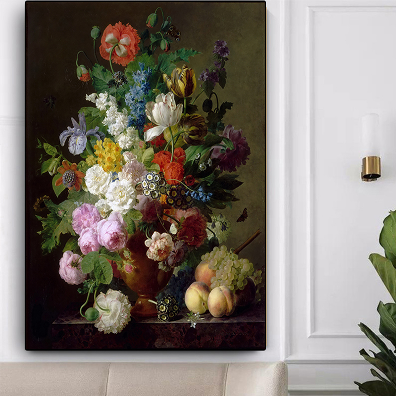 Vase of Flowers Grapes and Peaches by Jan Frans van Dael