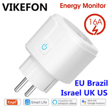 Enchufe inteligente con WiFi, 16A, UE, Israel, Tuya, Smart Life, APP, compatible con Alexa, asistente de Google Home, Control por voz, sincronización, Monitor de potencia