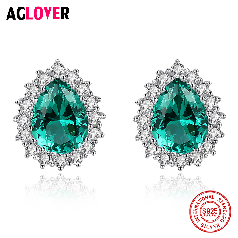 Women Hot S925 Sterling Silver Stud Earrings Fine AAAA Zircon Triangle Ear Gift