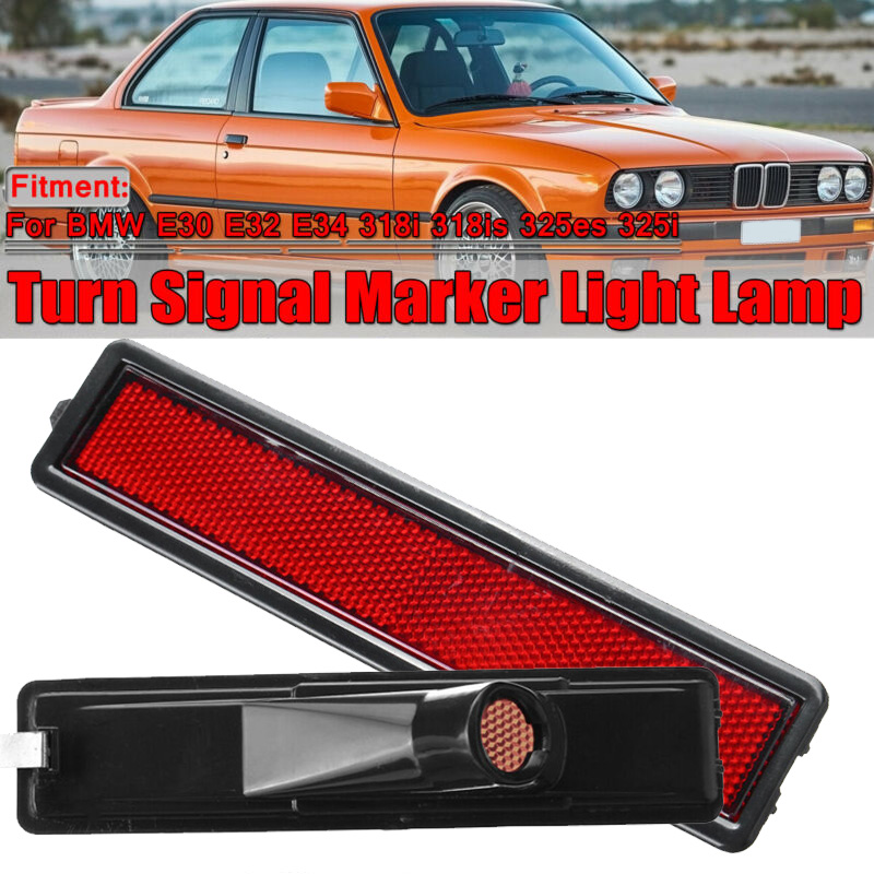 For <font><b>BMW</b></font> <font><b>E30</b></font> E32 E34 <font><b>318i</b></font> 318is 325es 325i Auto Car side Left / Right Replacement Rear Bumper Side Marker Light Red/Amber Color image