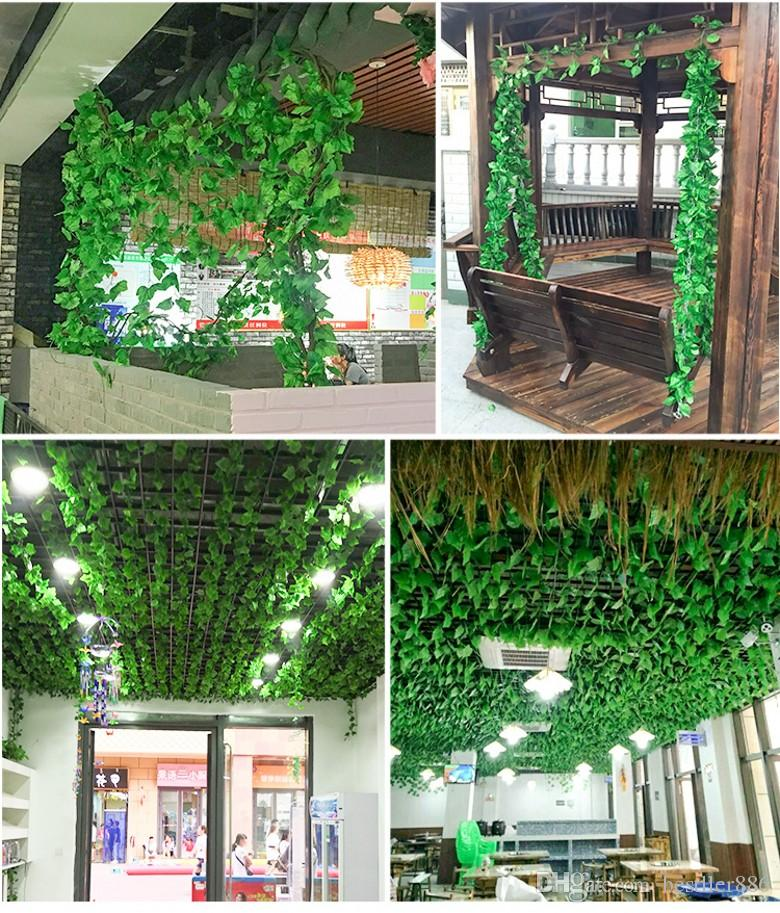 2.2m artificial Fake plants green Ivy Leaves Artificial Grape Vine greenery garland wedding flower home decoration Cheap