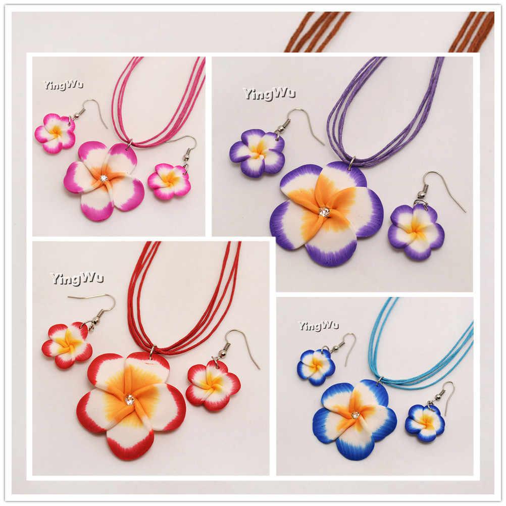 Yingwu enviar aleatoriamente cor conjunto de argila de polímero flor conjunto de jóias para mulheres brincos plumeria colar brincos meninas jóias presentes