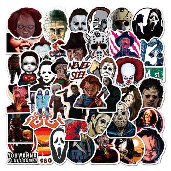 50PCS Mixed Horror Movie Character Stickers Freddy Krueger The Joker Decal Sticker DIY for Motorcycle Car Laptop Suitcase Guitar image