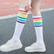 New 1 Pair Women Black White Leg Sock Autumn Winter Thigh High Socks Rainbow Stripe Wind Sport Hosiery Fashion