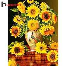 Huacan Diamond Paintings Floral 5D DIY Mosaic Flowers Full Drill Cross Stitch Picture Of Rhinestones