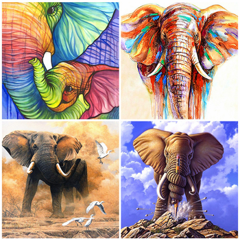HUACAN 5D DIY Diamond Painting Full Square Elephant Embroidery Animal Handmade Mosaic Home Decoration Art - discount item  27% OFF Arts,Crafts & Sewing
