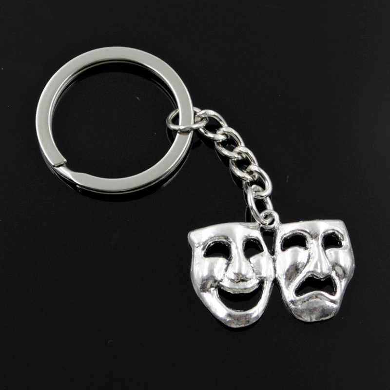 new fashion men 30mm keychain DIY metal holder chain vintage comedy tragedy masks 31x23mm silver pendant Gift