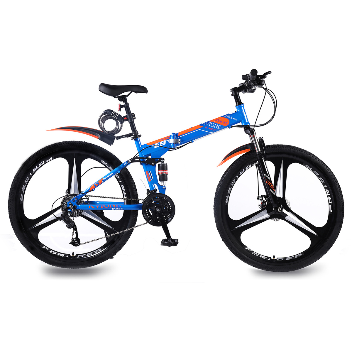 KVIONE E9 Mountain Bike For Men And Women 29 Inches MTB Mountain Bicycle High-carbon Steel With 27-speed Disc Brake Folding Bike
