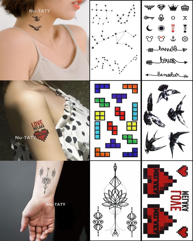 Nu-TATY Waterproof Temporary Sticker Tetris Swallow Pixel Love Star Map Lotus Flower Written Words Arm Men Fake Tattoo Stickers