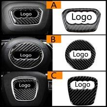 Para Audi A1 A3 A5 A4 A6 A7 A8 S3 S4 S5 S6 S7 Q3 Q5 Q7 TT de fibra de carbono emblema para volante 3D pegatinas accesorios de estilo de coche