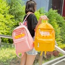 Black Oxford Women Backpack Transparent Student Little yello